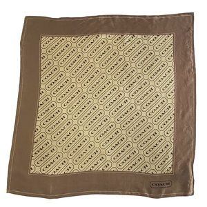 "COACH 20"" square 100% silk scarf brown and tan"